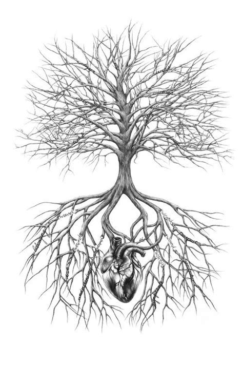 Tree and heart drawing. Broken roots. Tree roots. Tree