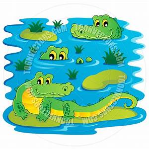 Swamp clipart alligator - Pencil and in color swamp ...
