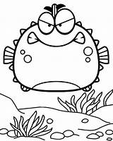 Fish Puffer Coloring Pages Cartoon Cute Porcupine Angry Children Nemo Coloringpagesfortoddlers Finding Fourteen Animals Funny Disimpan Dari sketch template