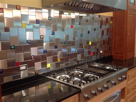 colorful glass accent tiles in backsplash by uneek glass