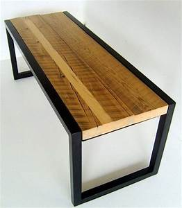 Bench Made From Reclaimed Wood And Welded Metal Painted