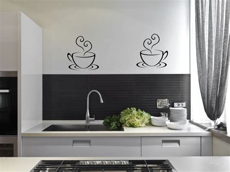 stickers cuisine design 2 coffee cups tea kitchen wall stickers cafe vinyl