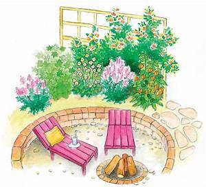 Senkgarten Mit Feuerstelle : reihenhausgarten gestalten luftig und abwechslungsreich mein sch ner garten ~ Buech-reservation.com Haus und Dekorationen