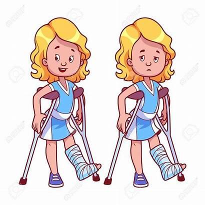 Leg Broken Clipart Cartoon Cast Injury Break