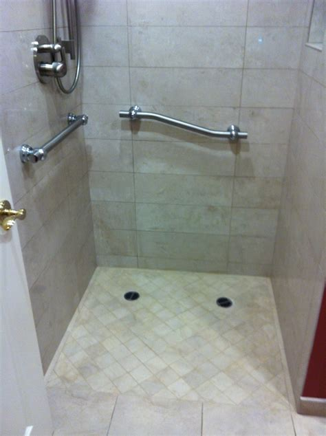 bar bathroom ideas curbless shower with grab bars bathroom ideas