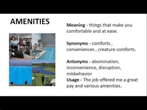 Vocabulary Made Easy Meaning Of Amenities, Synonyms