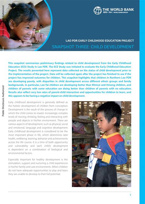 lao pdr early childhood education project snapshot