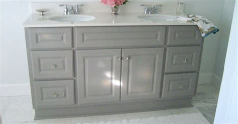 diy custom gray painted bathroom vanity   builder