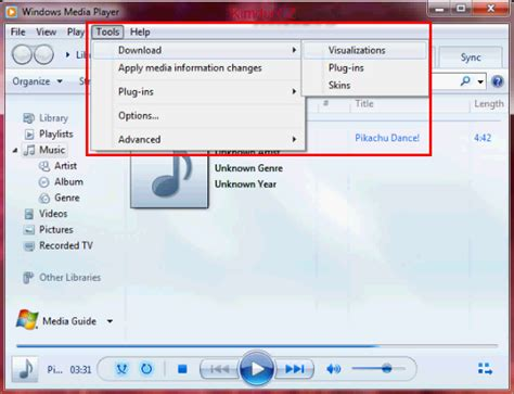 c 225 ch hiển thị visualizations trong windows media player