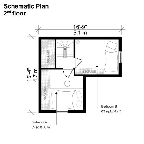 Bedroom Floor Plan by 2 Bedroom Small House Plans