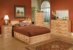 Light, Colored, Bedroom, Furniture, Fresh, Traditional, Oak, Platform, Bedroom, Suite, Qu, U2026