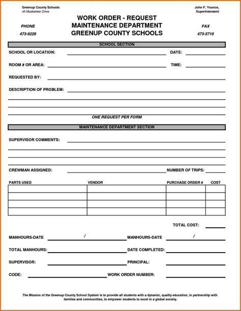 maintenance work order template excel sampletemplatess