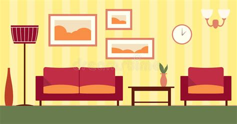 vector color interior  cartoon living room stock vector