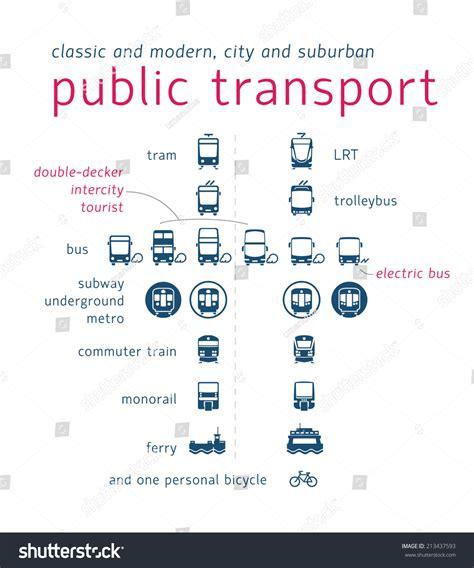 Public Transport Icon Set Flat Vector Stock Vector