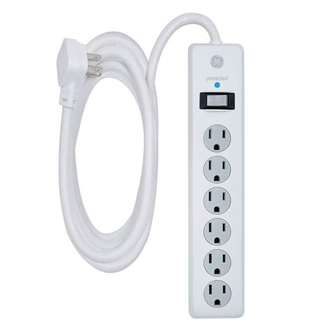 power surge protector cord extra long outlets strip ge extension ft office