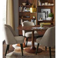 madison table  walnut  cora chairs modern dining
