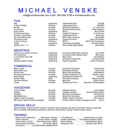 How To Set Up A Theatre Resume by Acting Resume Help