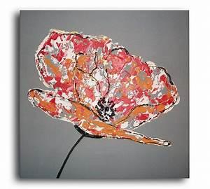 Peinture Blanc Gris : tableau de peinture moderne fleur ~ Nature-et-papiers.com Idées de Décoration