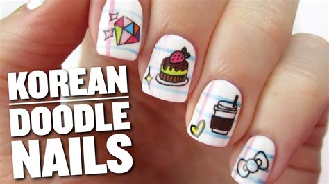 Korean Doodle Nail Art - YouTube