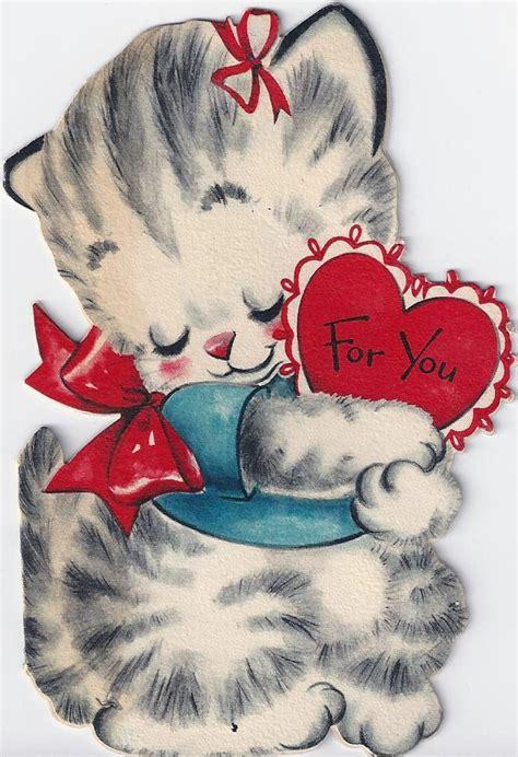 darling vintage valentine kitty cat cards deba