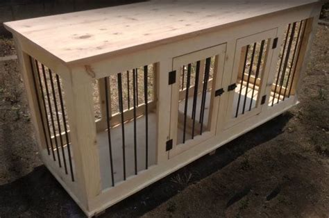 double large custom handcrafted dog crate