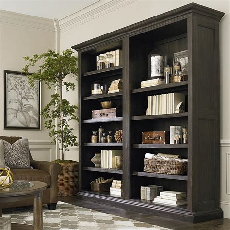 90 inch single open bookcase in smoked oak emporium