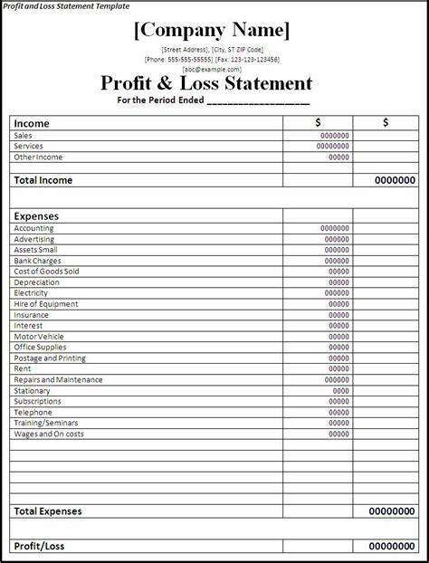 profit loss statement template professional freelance content profit and loss statements for independent publishers