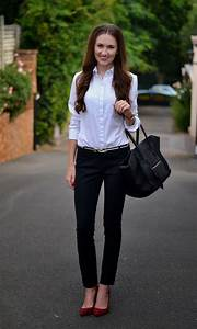WORK OUTFIT Very simple but classy outfit with black cigar pants white blouse and red pumps ...