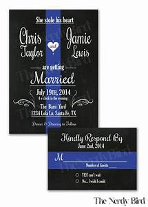 thin blue line design with chalkboard background wedding With blue line wedding invitations