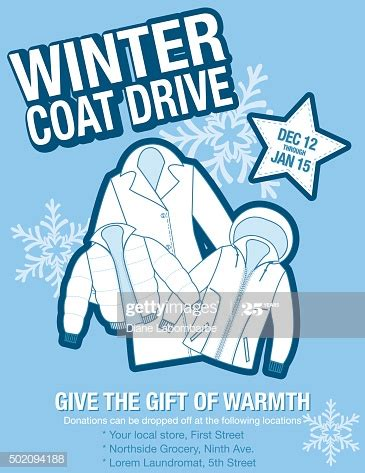 winter coat drive charity poster template high res vector