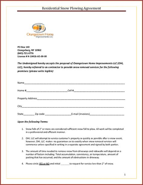 Snow Removal Contract Template Free by Snow Removal Contract Template Commercial Sle Free