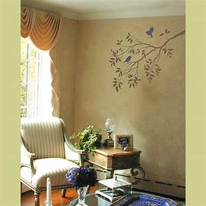 Wall art reusable stencils tree branches and birds