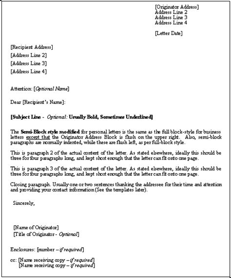 printable sample business letter template form forms