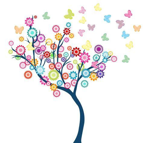 albero clipart albero con i fiori e le farfalle illustrazione vettoriale