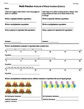 (3oa1) Products 3rd Grade Common Core Math Worksheets  1st 9 Weeks