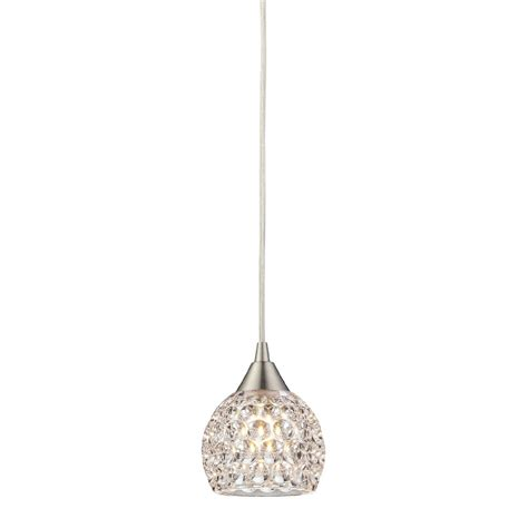 elk 10341 1 kersey satin nickel halogen mini pendant light