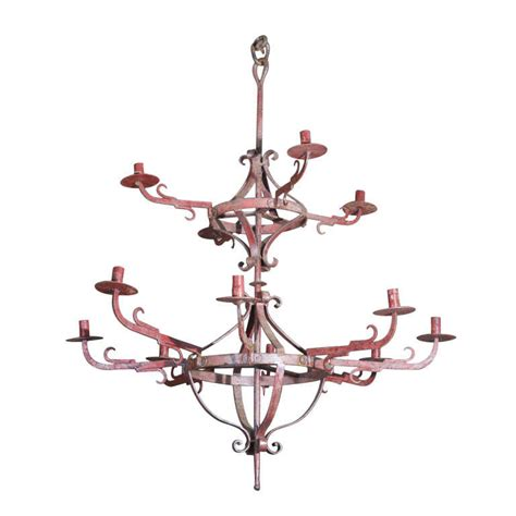 painted wrought iron candelabra chandelier unwired