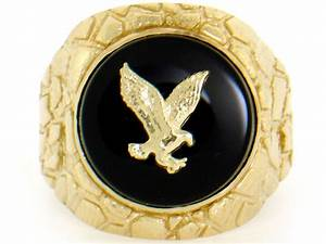 10k / 14k Solid Yellow Gold Nugget Round Onyx Eagle Mens ...  10k