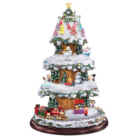 animatronic christmas decorations the peanuts animated tree hammacher schlemmer