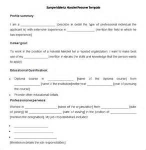 100 material handler description for resume resume
