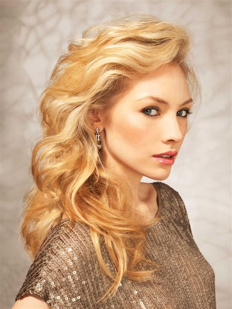 Blond Hairstyles by Golden Hair With A Lifted Side Swept Fringe