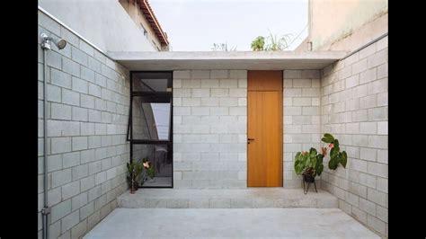 Casas hechas con bloques de cemento Plano fachada y