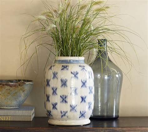 blue ikat terra cotta vase pottery barn