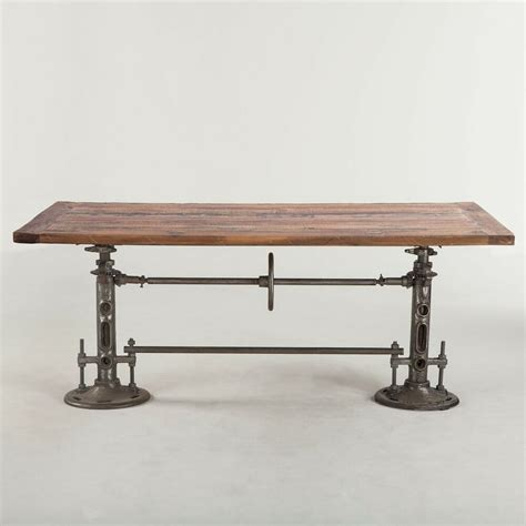 Table L 82 quot l industrial design dining crank table iron base legs