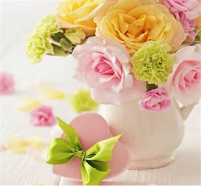 Pastel Flowers Heart Flower Roses Bouquet Vase