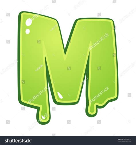 slime m m slimy font type letter m stock vector illustration