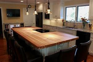 Custom Hickory Bucher Block Kitchen Island - Traditional