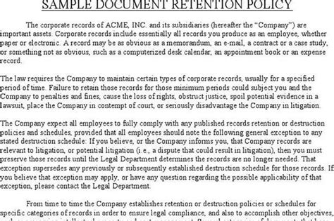 Document Retention Policy Template by Document Retention Policy Free Premium