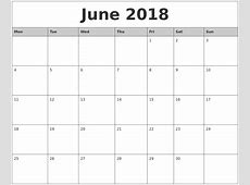 June 2018 Monthly Calendar Printable