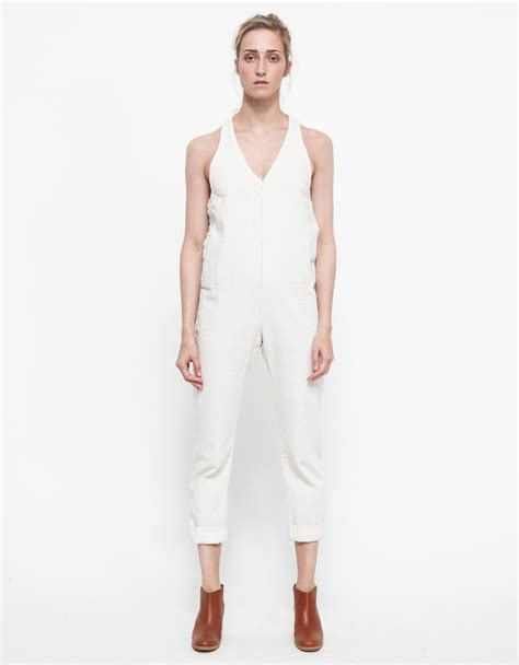white denim jumpsuit lyst comey buxton jumpsuit in white denim in white
